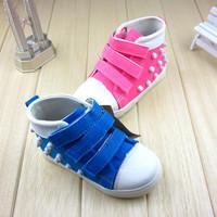 2014 male female child fashion neon color rivet personalized canvas shoes medium cut child toddler skateboarding shoes kid shoes