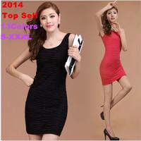 2014 Spring Summer Women A-line Slim Sexy Dresses fashion ladies' Knee-length Skinny Dress  2pcs/lot 13Colors Fit Free Shipping