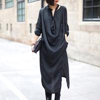 Fashion irregular asymmetrical it original design ultra long paragraph female long-sleeve shirt