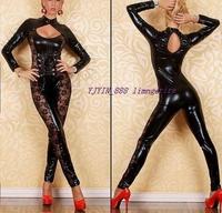 Women's sexy underwear leather faux leather bodysuit ds