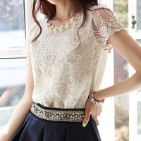 New 2014 free shipping women summer Lace Blouse Hollow out chiffon Embroidery Nail bead Net yarn short sleeves flower Lady shirt