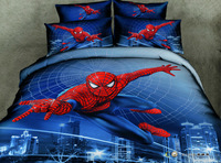 Wholesale of 100cotton queen spider man family bedding sets 4pcs duvet cover sheet /bedclothes/bed comforter /quilt cover(H3)