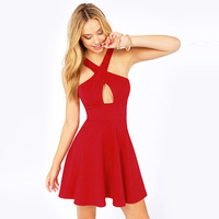RED dress prothorax cross sexy strapless fashion backless dress women's halter-neck sleeveless one-piece dress Plus size XS-XXL