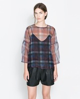 Newest 2014 Spring Women Fashion Plaid Prints Three Quarter Sleeve Transparent Blouse,Ladies Sexy Pullover Organza Shirts c310