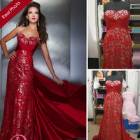 Actual Image 2014 Prom Dress Gorgeous Sheath Red & Silver Lace Satin Sweetheart Long Lace Prom Dresses NPD-10-26