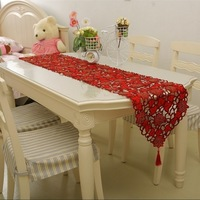 Embroidery table runner table cove table cloth with red rose flower use to home hotel dining room NO.6013 Free shipping
