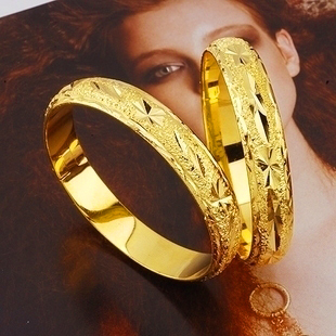 Low price Noble Handcarved 24k Yellow Gold Filled Lady's Bangle 60mm Openable Bracelet Women GF Jewelry 10mm Width free shipping(China (Mainland))