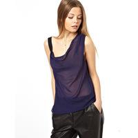 2014 new women sleeveless chiffon shirt,fashion women tank top,blue white plus size shirts for spring summer