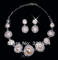 New Style 2014 Bridal Necklace Earrings Pearls Rhinestone Crystal Women Accessories Bridal Jewelry Bridal Set 66a20