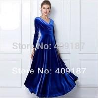 Good quality! Free Shipping long sleeve v neck plus size S to XXL maxi velvet Velour dress, elegant dress, recommend