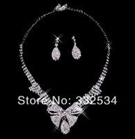 Bow 2014 Bridal Necklace Earrings Pearls Rhinestone Crystal Women Accessories Bridal Jewelry Bridal Set 65a20