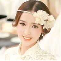 Beauty Bridal Big White Flower Hair Jewelry Hairbands For Women Wedding