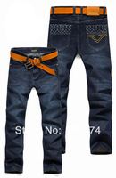 2014  shipping Korea Men's Jeans Slim Fit Classic denim Jeans Trousers Straight Leg Blue Size 30~40 Button New