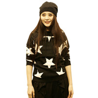 Free shipping new fashion 2014 winter women hoodie long sleeve Star Print sweatshirt sports hooded sweater pullover coat