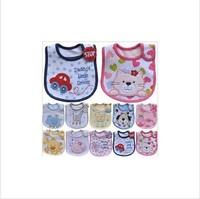 Free shipping 5pcs/lot  New Baby Infants kids embroidered saliva towels  3 Layer Waterproof Baby Waterproof bib