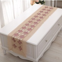 Embroidery table runner table cove table cloth with pink rose flower use to home hotel dining room NO.6211  Free shipping