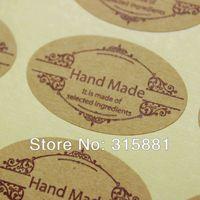 """Ellipse Kraft paper  """"Hand Made"""" Sticker"""