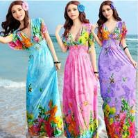 2014 Summer New Bohemian Dress Long Dress Was Thin V-Neck Short-Sleeved Tourist Seaside Resort Floral Beach Dress JH29