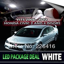 Free shipping,6 X Xenon White LED lights interior package kit for 2006 - 2012 Honda Civic(China (Mainland))