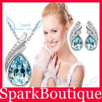 Fashion Austrian Crystal Leaf Tear Drop Pendant Necklace Earrings Bridal Jewelry Sets