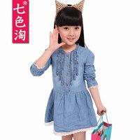 Children's clothing 2013 autumn child skirt female denim child long-sleeve dress q22