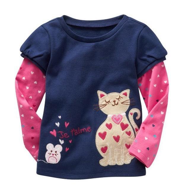 Free shipping 6pcs/lot Baby girls long sleeve t-shirt/Tee Baby Tshirt Children Tshirt kids 100% cotton tops(China (Mainland))