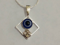 Min order $10 (mix order) Fashion Blue eyes the square crystal necklace  for women