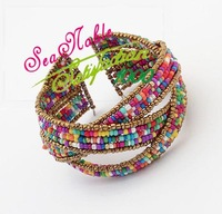 New 2014 European Style Bohemian Bead Gold Bracelet For Women S63