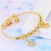 Baby Children's Jewellery 18k Yellow Gold Filled GF Charm Star Bangle Bracelet Free Shipping