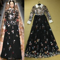 2014 New Europe Fashion Designer Long Dress Women's Floral Print Vintage Maxi Dress Ankle-length Long Dresses