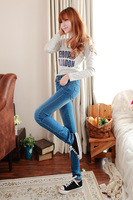 2014 new fashion 3 breasted mid waist jeans casual trousers female elastic slim pencil women skinny jeans pants size 26-32 HK007