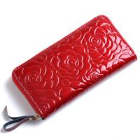 Patent leather women genuine leather wallet purse female phone bag flower women wallets