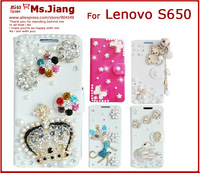 Diamond Bling Wallet Flip PU Leather Phone Case Cover For Lenovo S650 Phone accessories