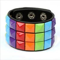 2014 New Fashion Handmade Punk Women Leather Bracelets & Bangles Wholesale, Can Mix Color, AA009