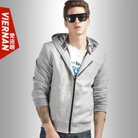 Men's clothing teenage autumn fashion male slim with a hood sweatshirt cardigan zipper outerwear male