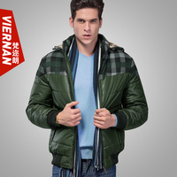 2013 men's winter clothing thickening cotton-padded jacket detachable cap fashion slim shorts jacket outerwear