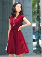 2014 newest Korean women clothes silk Cotton V-neck large size high waist dress tuxedo free delivery