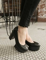 Sty nda2014 spring high thick heel platform shallow mouth single shoes casual women's shoes