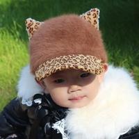 Rabbit fur hat child cat ears baby baseball cap hat baby spring and autumn children hats
