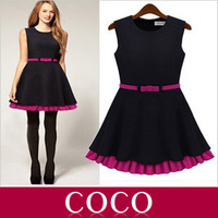 2014 spring  new hit double color skirt vest dress Slim waist dress