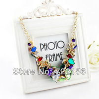 2014 Latest Fashion Colorful Rhinestone Alloy Chain Choker Necklace