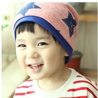 Spring and autumn cotton 100% the five-star pocket child hat baby cap covering toe cap male female child hat