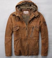 2014 new Autumn men retro finishing nubuck sheepskin with a hood short design male outdoor slim genuine leather coat Y2P0 TP