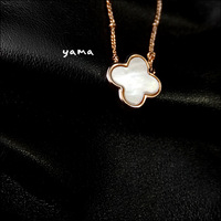1 - Two sides ! 18k rose gold . simple and elegant four leaf grass shell beads necklace