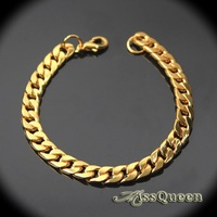 2014 New Fashion 8mm Exquisite Design Men Jewelry European 18K Gold Plated Titanium Steel Chain Bracelets DB053
