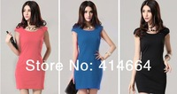 Free Shipping fashion women clothes 2014  Korean New Fashion knee-length  Summer Dress sexy,casual brief dress