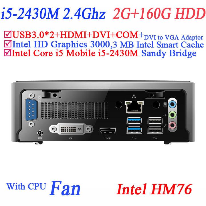 Latest Mini PC Terminal i5 processor with Sandy Bridge Intel Core i5 Mobile i5-2430M 2G RAM 160G HDD with DVI HDMI COM USB 3.0(China (Mainland))