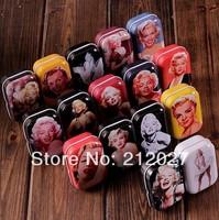 Freeshipping Vintage Style Sexy Marilyn Monroe tin box /Collectables/ mini iron case/storage case/pills storage box 32pcs/lot
