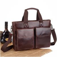 2014 New Vintage Fashion Style Genuine Leather Briefcase For Men Laptop Shoulder Bag Handbag Business Travel Bag Messenger Bag