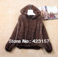 New Fashion Natural Mink Fur Winter Jacket Women's Long-sleeve Top Fashion Knitted Mink Fur Coat Plus Size Free Shipping ZX0389